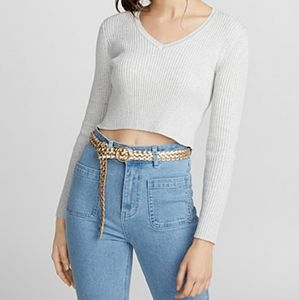 Twik Cropped Ribbed V-neck Sweater